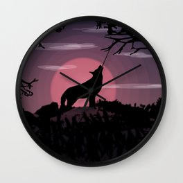 Wolf full moon Wall Clock