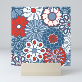 Cute Mid Century Modern Flowers - Red, White and Blue Mini Art Print