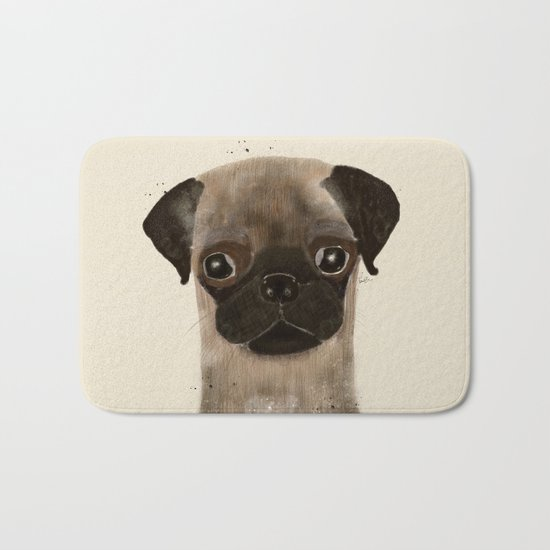 little pug Bath Mat