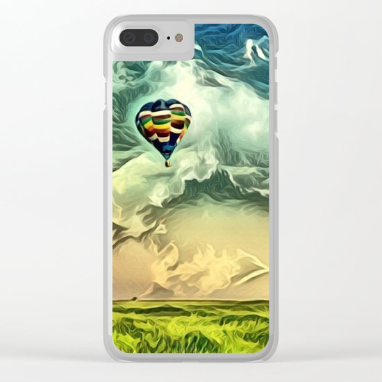Air Balloon in the Sky with Clouds over the Landscape Clear iPhone Case