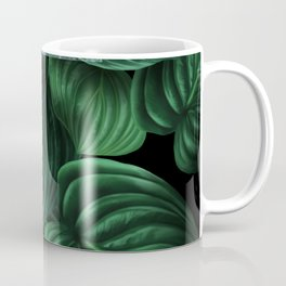 tropical green pattern on black Coffee Mug