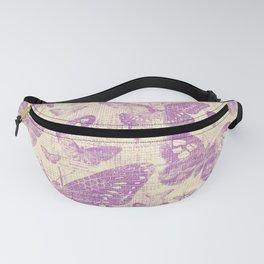 purple, vintage, butterflies, parchment Fanny Pack