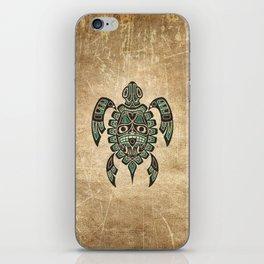 Vintage Teal Blue Haida Spirit Sea Turtle iPhone Skin