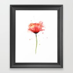 Red Poppy Watercolor Flower Floral Framed Art Print