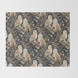 Wooden Wonderland Barn Owl Collage Throw Blanket