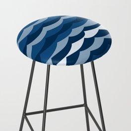 Classic Blue Wave Pattern Bar Stool