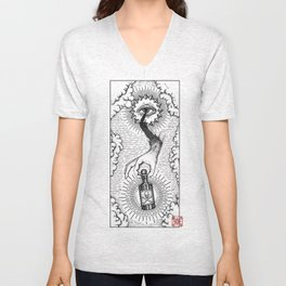 Sky god passing on the elixir of death to defeat ones enemies.  Unisex V-Neck