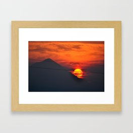 SUNSET OVER MOUNT HOOD Framed Art Print