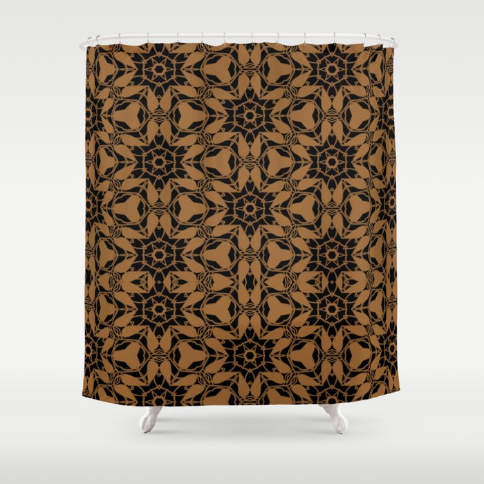 Black and Bronze Petals 2676 Shower Curtain