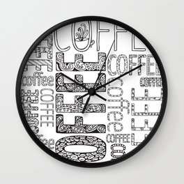 Color-in coffee typography art coloring page Wall Clock
