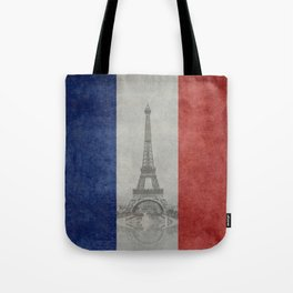 Eiffel tower with French flag Tote Bag