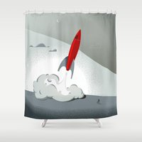 onesie Shower Curtains featuring Blast Off (Tommy & The Rocket) by Four & Thirty