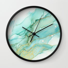 Magic Bloom Flowing Teal Blue Gold Wall Clock