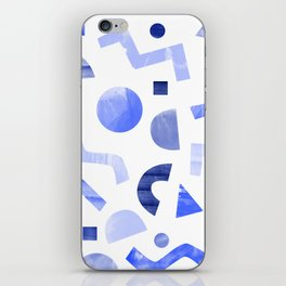 Memphis watercolor blue abstract pattern iPhone Skin