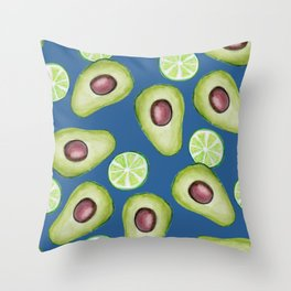 avocado lime blues, watercolor avocado and lime on classic blue, new 2020 Throw Pillow