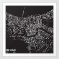 New Orleans Louisiana City Map Graphic Art Print