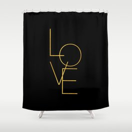 LOVE / black and gold Shower Curtain
