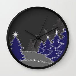 Christmas in blue and gray Wall Clock