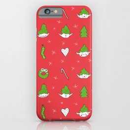 Red Pattern Christmas Elves iPhone Case