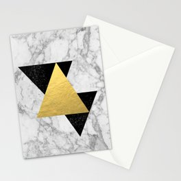 Marble Tri Black & Gold - gold foil, gold, marble, black and white, trendy, luxe, gold phone Stationery Cards