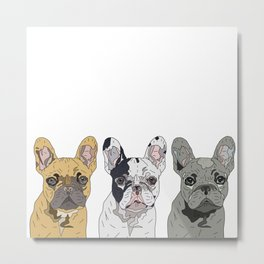 Triple Frenchies Metal Print