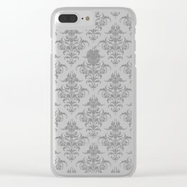 Damask Pattern | Vintage Patterns | Victorian Gothic | Black and White | Clear iPhone Case