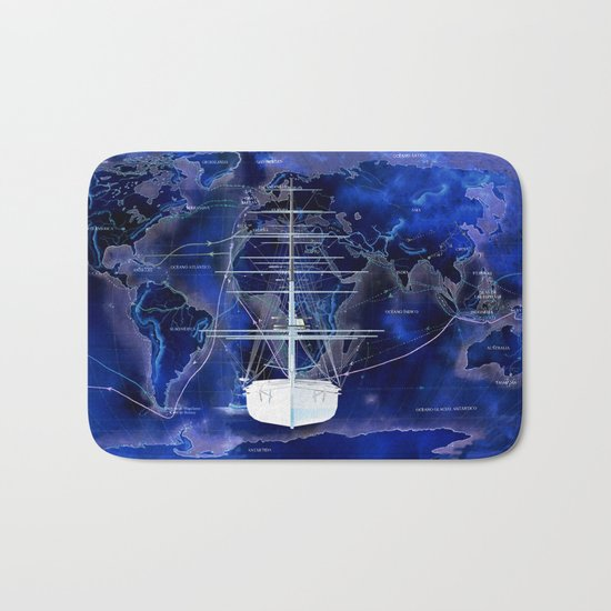 Discovery The World in Blue Bath Mat
