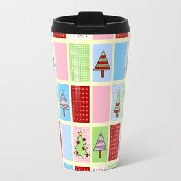 Christmas Tree Colorful Checkerboard Pattern Design Travel Mug