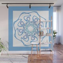 Hope Flower Mandala - Blue Framed Wall Mural