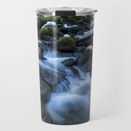 Snow, Moss, Water Over Rocks Travel Mug
