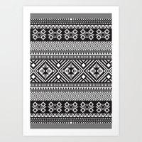 Monochrome Aztec inspired geometric pattern Art Print