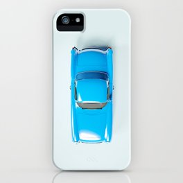 Vintage Blue Car on White iPhone Case