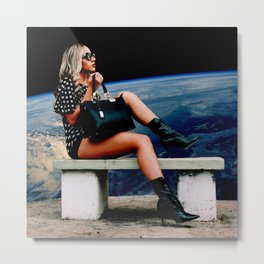 Girl on an Another Planet Metal Print