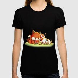 Bookish Fox and Cat Friends T-shirt