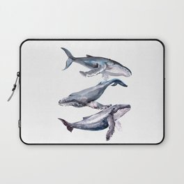 Humpback Whales, three whales illustration Laptop Sleeve