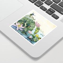 Japanese Water Lilies and Lotus Flowers Sticker