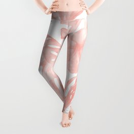 Tropical Palm Leaves Hibiscus Flowers Coral Pink Leggings