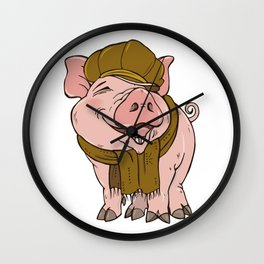 Pig in hat and scarf Wall Clock