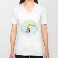 invader zim V-neck T-shirts featuring Invasor Zim by Maria Jose Da Luz