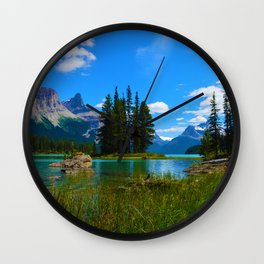 Spirit Island on Maligne Lake, Jasper National Park Wall Clock