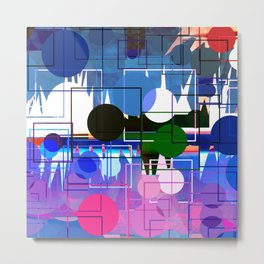 Multi- Blue Sticker Line Abstract Design Metal Print