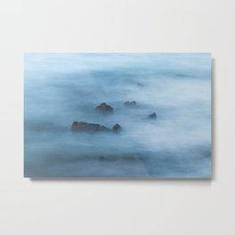 Misty blue long exposure of rocks in sea Metal Print