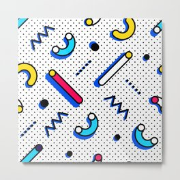 Bright Background in Neo Memphis Style Metal Print
