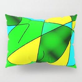 ABSTRACT CURVES #2 (Greens, Light Blue & Yellow) Pillow Sham