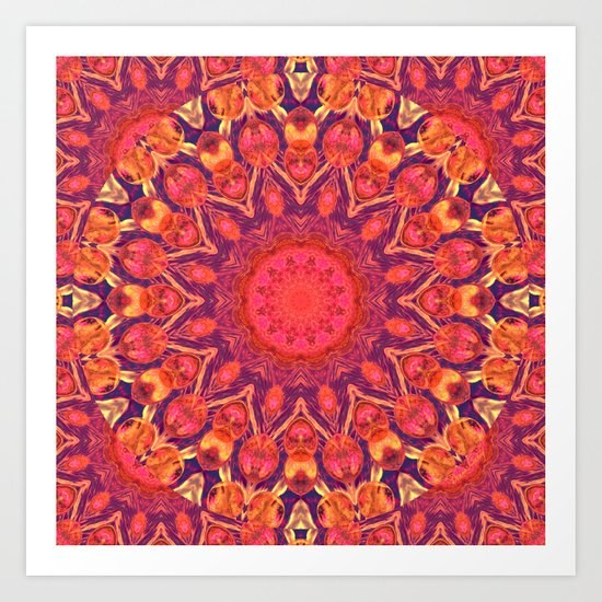 Sunburst Mandala, Abstract Star Circle Dance Art Print