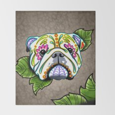 Day of the Dead English Bulldog Sugar Skull Dog Throw Blanket