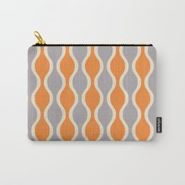 Classic Retro Ogee Pattern 852 Orange and Gray Carry-All Pouch
