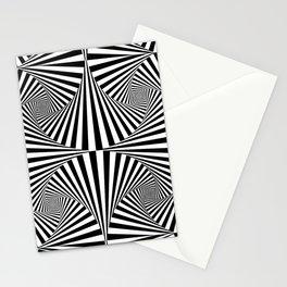 Black And White Retro Optical Illusion Stationery Cards