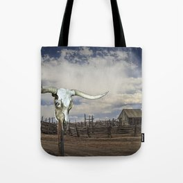 Steer Skull and Western Fenced Corral Tote Bag