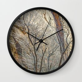CANYON LACE IN ORANGE AND BLUE Wall Clock
